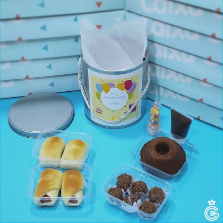 Kit School Party - Mini Bolo + 3 Pots - Lata (pedido mínimo de 5 unidades)