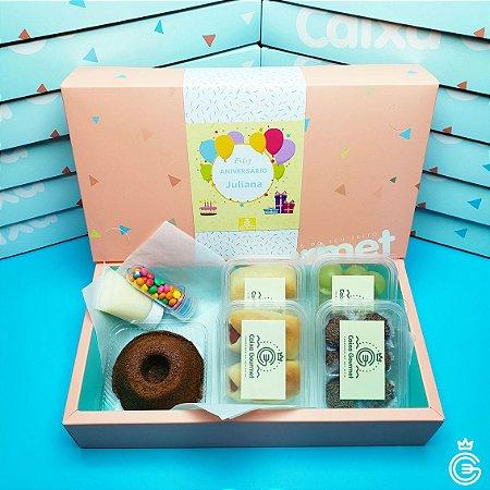 Kit School Party - Mini Bolo + 4 Pots - Caixa Gourmet (pedido mínimo de 5 unidades)