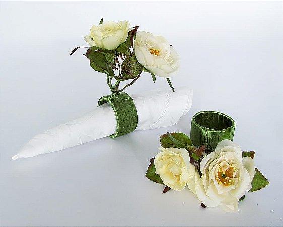 Porta Guardanapo Mini Rosas Brancas - 6 Unidades