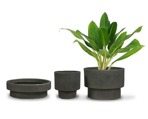 Trio Vasos Loft Polietileno com suporte - 3 peças