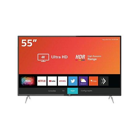 "Smart Tv Aoc 50"" 4k Uhd, Hdmi, Usb Wifi Miracast Conversor Digital, Netflix, Youtube, Globoplay"