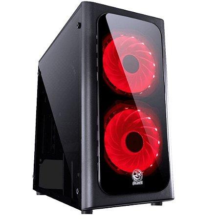 Gabinete Gamer PCyes Venus, Mid Tower, Com 2 Fans, Lateral de Acrílico, Black, S-Fonte, Led vermelho