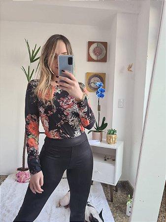 Body em suede floral