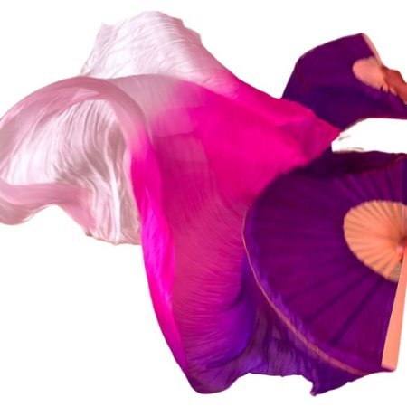 Par Fan Véu Leque Degrade Cores Dança do Ventre - Roxo, rosa e branco.