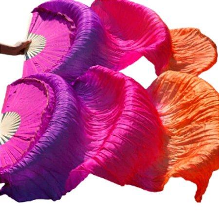 Par Fan Véu Leque Degrade Cores Dança do Ventre - Roxo, rosa e laranja.