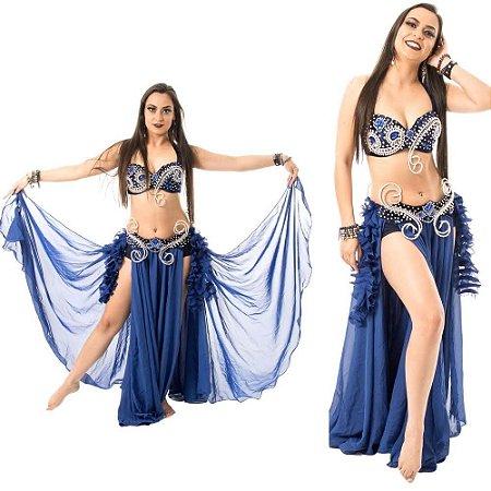 [Encomenda 30 Dias] Dança do Ventre Traje Completo Arabesco Ricamente Bordado