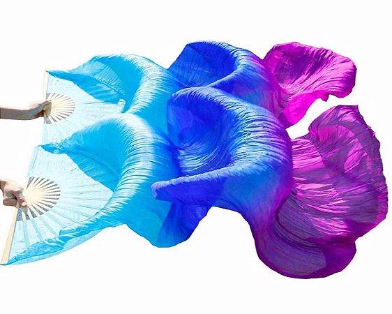 Par Fan Véu Leque Degrade Cores Dança do Ventre - Azul claro, Azul escuro, Roxo
