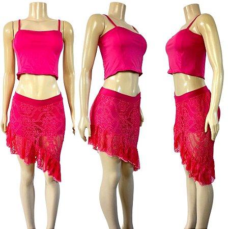 Dança do Ventre Conjunto de Aula Pink Malha e Renda -  Pronta entrega