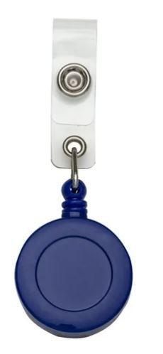 Roller Clip Porta Crachá Retrátil Tipo Iôiô Pacote com 25 Unidades Azul Leitoso