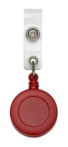 Roller Clip Porta Crachá Retrátil Tipo Iôiô Pacote com 25 Unidades Vermelho Leitoso
