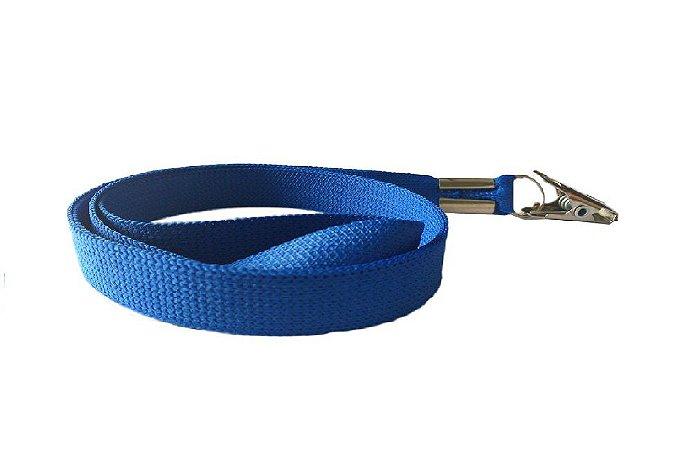 Cordão Liso para Crachá Azul Royal Com Clips Jacaré Pacote com 25 Unidades