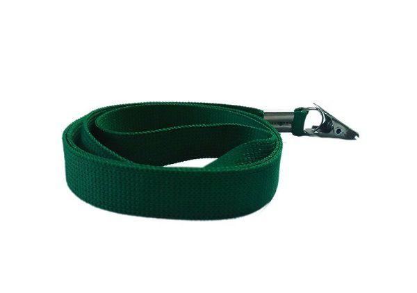 Cordão Liso para Crachá Verde Com Clips Jacaré Pacote com 25 Unidades
