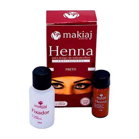 Henna Para Design de Sobrancelhas Profissional Makiaj Cor Preto Rena