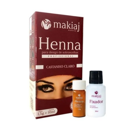 Henna Para Design de Sobrancelhas Profissional Makiaj Cor Castanho Claro Rena