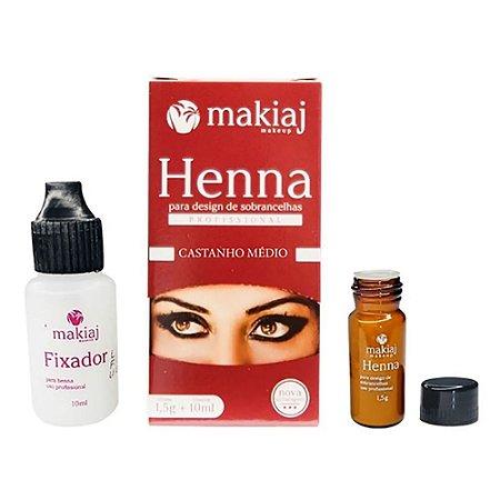 Henna Para Design de Sobrancelhas Profissional Makiaj Cor Castanho Medio Rena