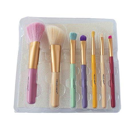 Kit com 7 Pincéis para Maquiagem Hello Mini KT79
