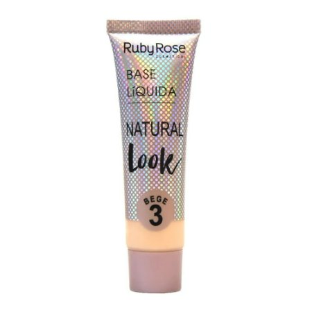 BASE LÍQUIDA NATURAL LOOK BEGE RUBY ROSE - BEGE 3