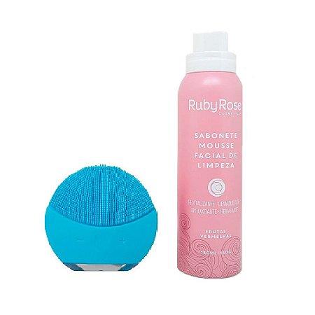 Kit Esponja de Limpeza Facial Azul + Mousse Frutas Vermelhas - Ruby Rose