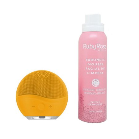 Kit Esponja de Limpeza Facial Amarela + Sabonete Mousse Frutas Vermelhas - Ruby Rose
