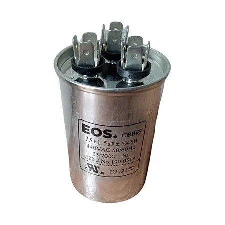 CAPACITOR DUPLO 25+1.5MFD 440V C/TERMINAL 50X75 ALUMINIO