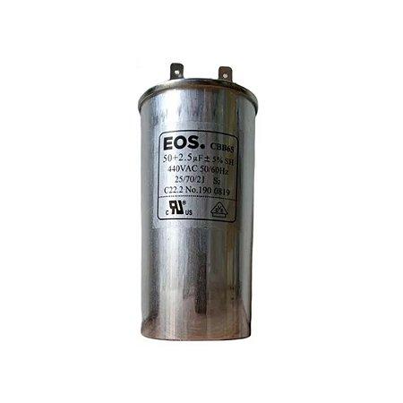CAPACITOR DUPLO 50+2,5 MFD 440V C/TERMINAL 50X100 CORPO EOS