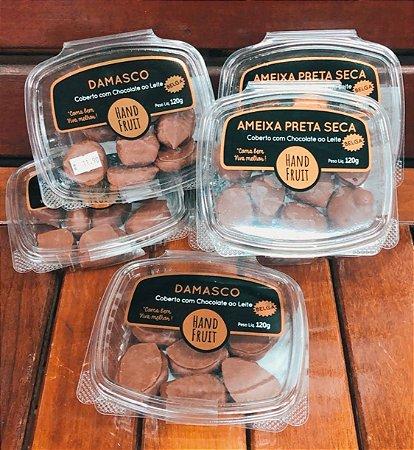 Mix de dragee de damasco e ameixa chocolate belga 100g