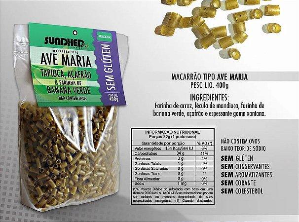 Macarrão tipo ave maria de tapioca, açafrão e banana verde