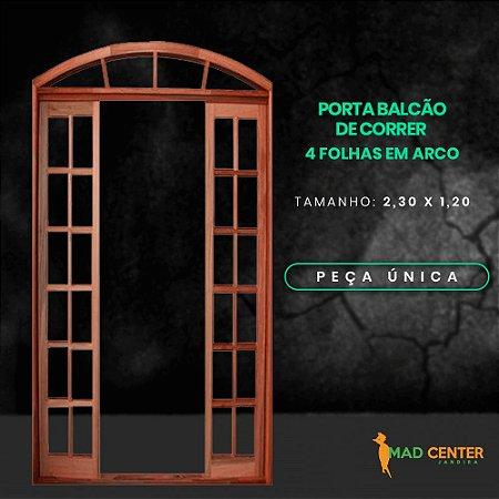 PORTA DE CORRER 4 FLS EM ARCO 2,30 X 1,20 - ITAÚBA PREMIUM - CX 14 C/ GUARNIÇÃO