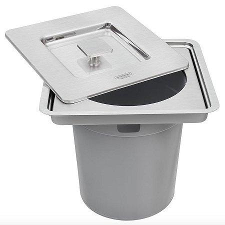 Lixeira de Embutir Tramontina Clean Square em Aço Inox com Balde Plástico 5 L