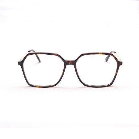 Armação para Óculos de Grau Feminino Retangular Grande Acetato Tartaruga com Haste de Metal