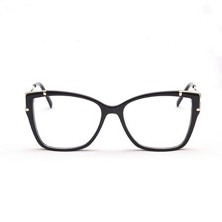 Armação para Óculos de Grau Feminino Acetato Gatinho Preto com Detalhe Prata