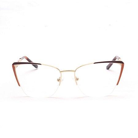 Armação para Óculos de Grau Feminino Metal Gatinho Bordô com Laranja