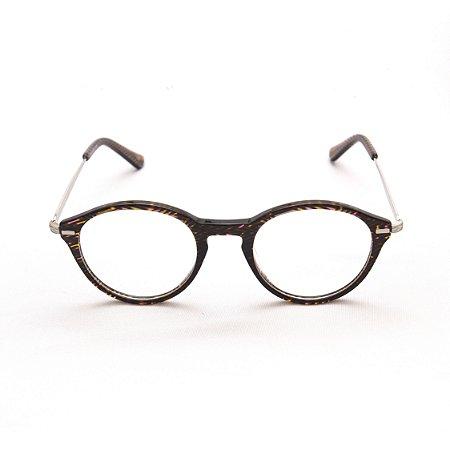 Armação para Óculos de Grau Feminino Acetato Redondo Listrado Colorido Ponte Fechadura