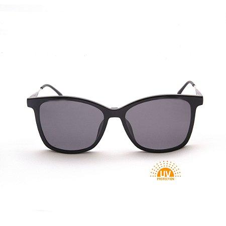 Armação para Óculos de Grau Clip-on Feminino Acetato Preto Brilhante Haste Detalhe Metal