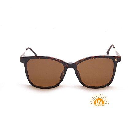 Armação para Óculos de Grau Clip-on Feminino Acetato Tartaruga Brilhante Haste Detalhe Metal