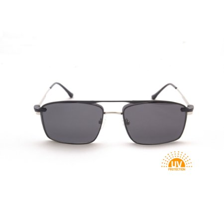 Armação para Óculos de Grau Clip'on Masculino Metal Prata com Preto Retangular