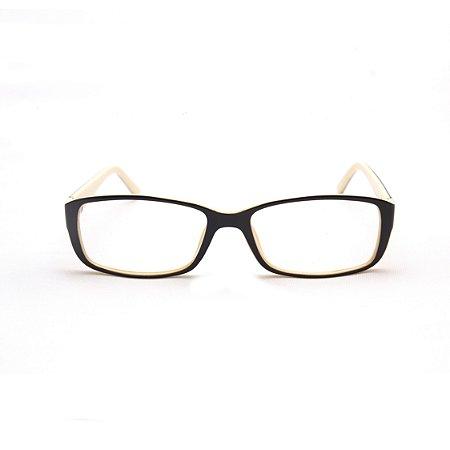 Armação para Óculos de Grau Feminino Acetato Retangular Café com Creme
