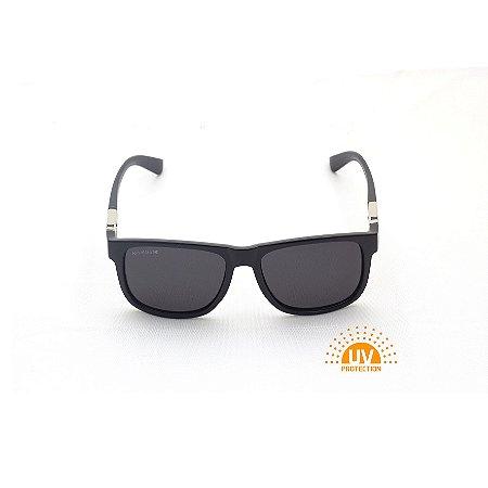 Óculos de Sol Retangular Preto Verniz Lente Black total Afrikan