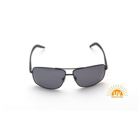 Óculos de Sol Retangular Metal Preto Lente Black Total Afrikan