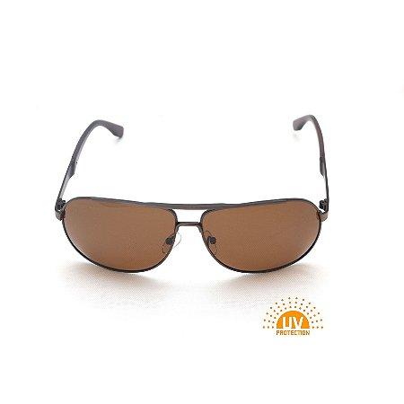 Óculos de Sol General Metal Marrom Lente Marrom Afrikan