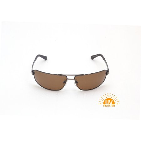 Óculos de Sol Retangular Curvado Metal Marrom Afrikan