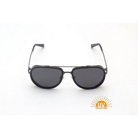 Óculos de Sol Aviador com Detalhe Lateral Preto Verniz Afrikan