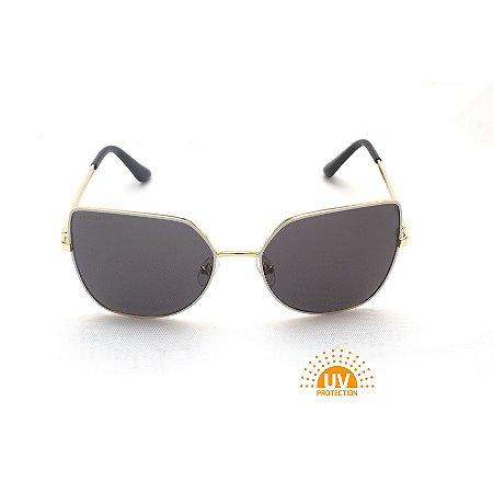 Óculos de Sol Gatinho Metal Branco e Dourado Afrikan