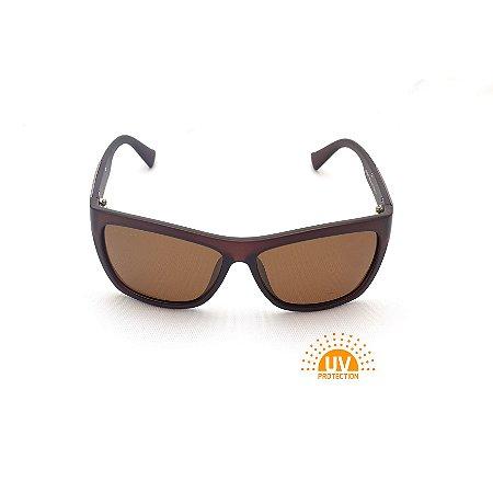 Óculos de Sol Retangular Curvado  Marrom Afrikan