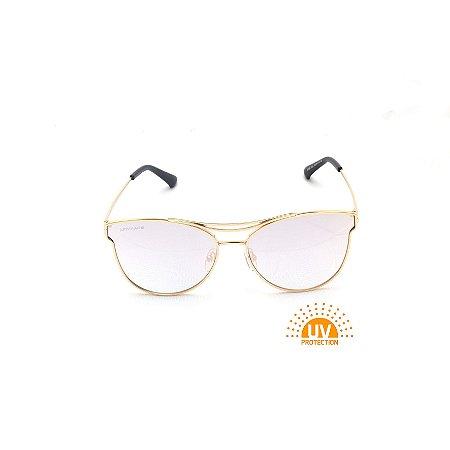 Óculos de Sol em Metal Dourado Lente Espelhada Prata Ponte Dupla Afrikan