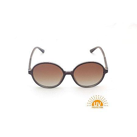 Óculos de Sol Redondo Grande Marrom Lente Marrom Degradê Afrikan