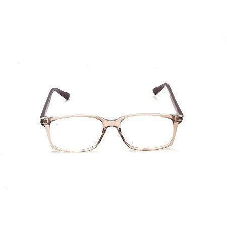 Armação para Óculos de Grau Retangular Acrílico Dourado