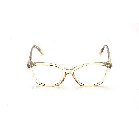 Armação para Óculos de Grau Gatinho Acrílico Dourado