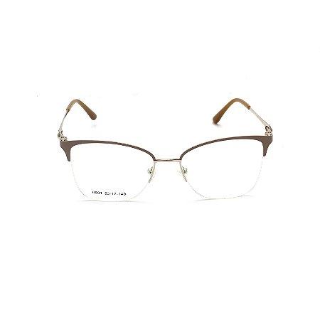 Armação para Óculos de Grau Quadrado Metal Nude Fio de Nylon Afrikan
