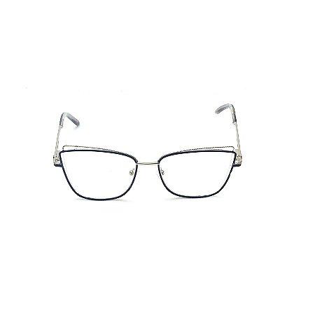 Armação para Óculos de Grau Quadrado Metal Azul e Prata Afrikan